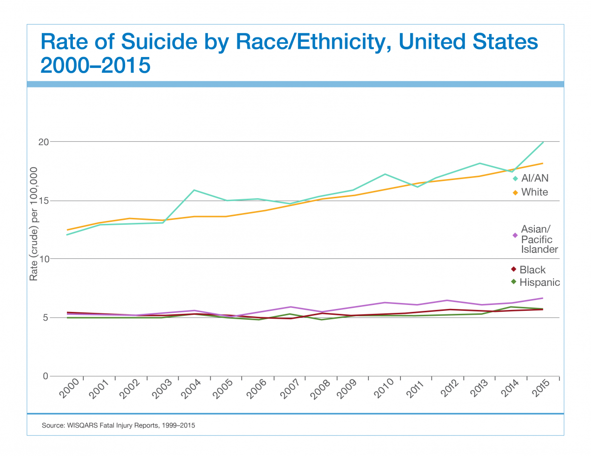 suicide in america While this data is the most accurate we have, we estimate the numbers to be higher stigma surrounding suicide leads to underreporting, and data collection methods critical to suicide prevention need to be improved.