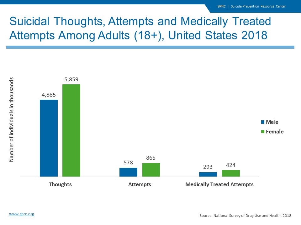 Suicidal Thoughts, Attempts and Medically Treated Attempts Among Adults in the United States 2018