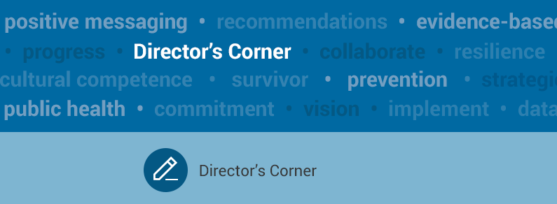 Blue graphic with the words Director's Corner on it