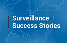 "Blue graphic with the words ""surveillance success stories"""