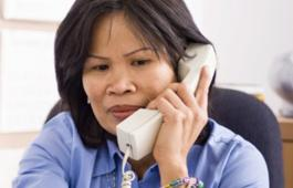 Woman answering the phone