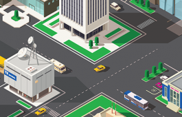 Graphic of city scene with buildings and vehicles